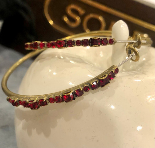 Sorrelli Cha Cha Red Crystal Hoop Earrings