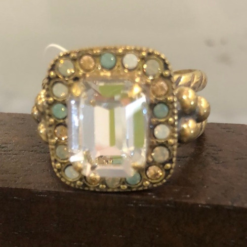 Sorrelli Emerald Cut Crystal with Pastels Ring