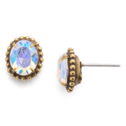 Sorrelli Aurora Borealis Oval Cut Crystals in Antiqued Gold Earring