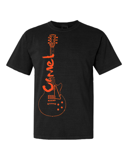100% cotton, Gildan Heavyweight t-shirt, black with CAMEL/guitar logo