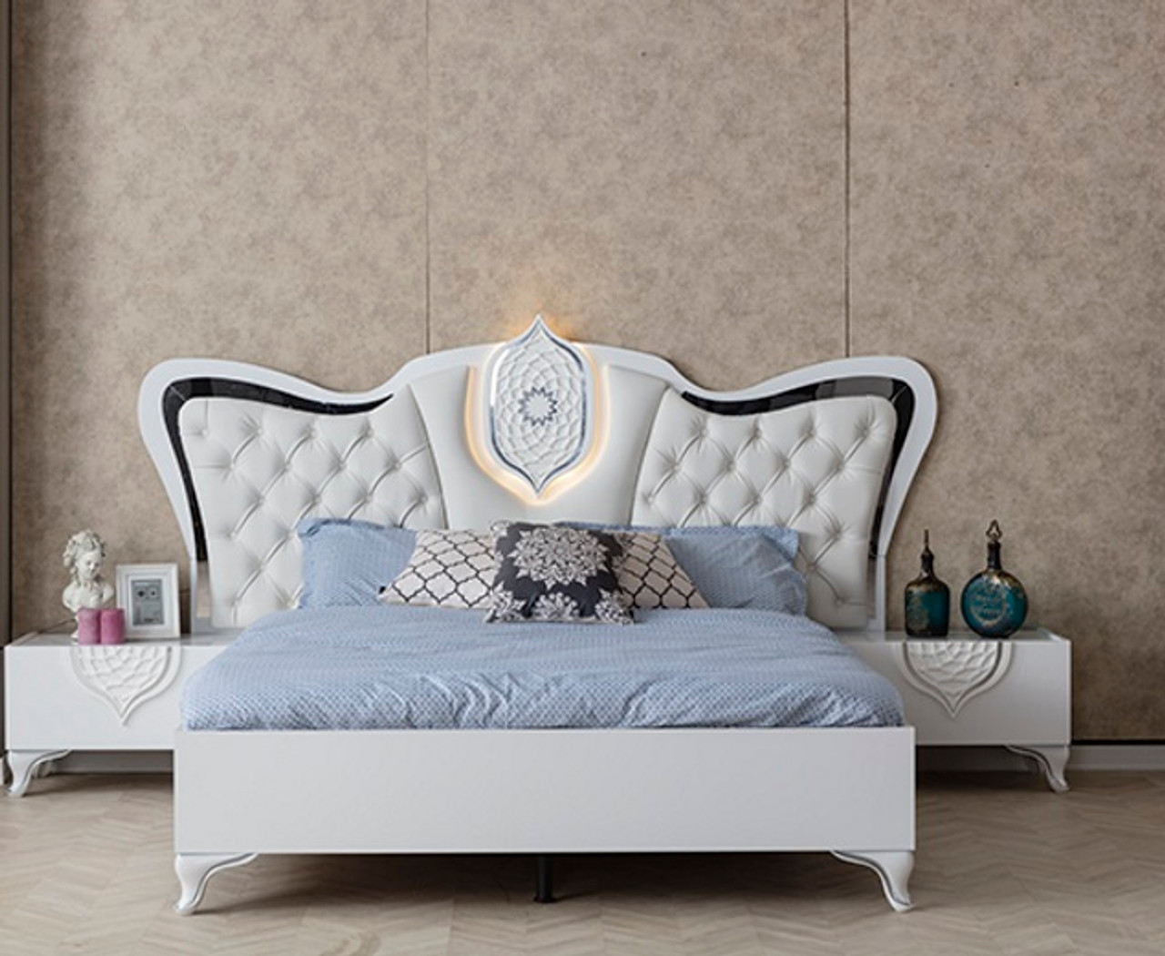Tugra Bedroom White/Silver
