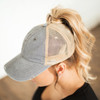 Distressed Messy Bun Hat Cap | Gray