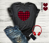 Large Plaid Heart + 2 Bonus Mini Hearts HEAT PRESS TRANSFER