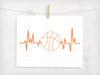 Basketball Heartbeat Digital Cutting File
