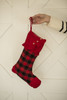 Red Plaid with Buttons Stocking
