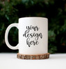 White Coffee Mug | Wood Slice | Mock Up