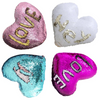 Sequin Heart Pillow Cover