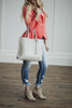Tassel Leather Tote Gray