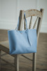 Tassel Leather Tote Blue
