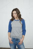 Tri-Blend Baseball Raglan True Blue/Oxford