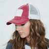 Patch Distressed Hat Wine
