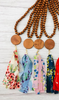 Wood Bead with Fabric Tassel & Disc Necklace FLORALS