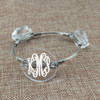 Crystal & Wire Bangle shown personalized with a monogram. You can use any of our permanent vinyls for personalization.