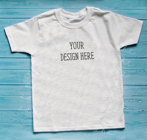 Plain White Short Sleeve Boys T Shirt Mock-Up (#5)