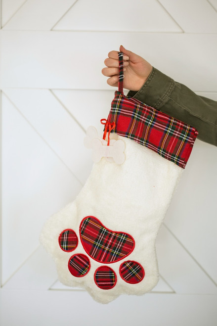 Dog Paw Plaid Christmas Stocking