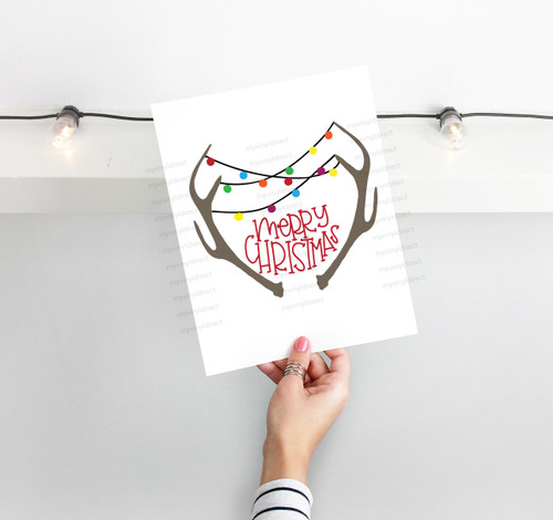 Antler Merry Christmas Digital Cutting File