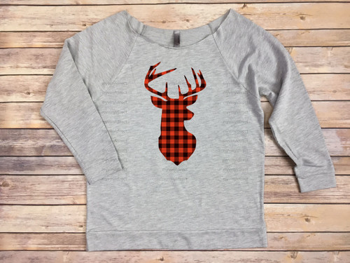 Buffalo Plaid Deerhead HEAT PRESS TRANSFER