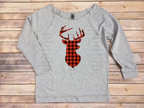 Buffalo Plaid Deerhead HEAT PRESS TRANSFER