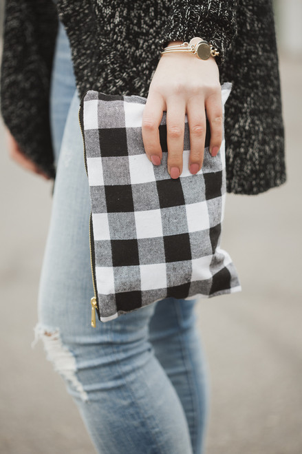 White Buffalo Check Make Up Bag