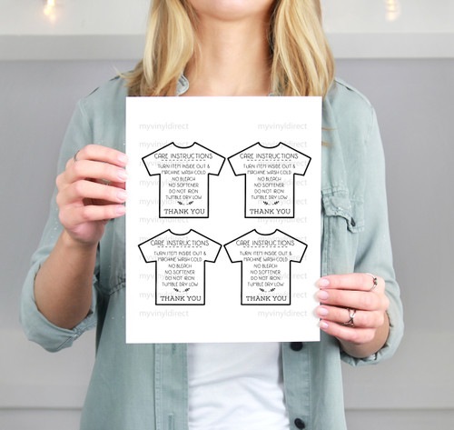 T Shirt Care Instructions Printable File