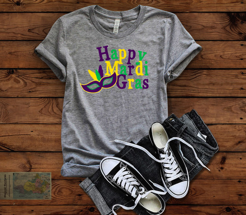 Happy Mardi Gras HEAT PRESS TRANSFER