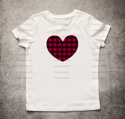 Medium Plaid Heart HEAT PRESS TRANSFER