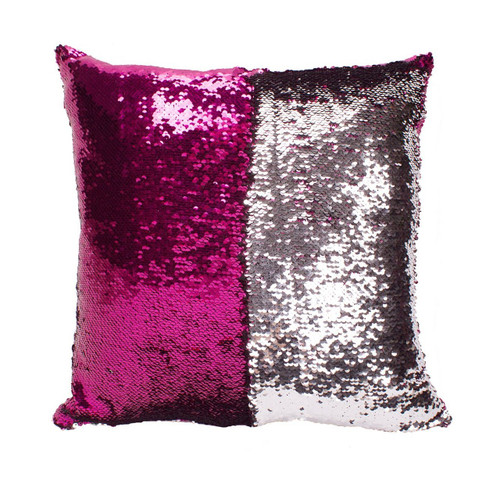 Sequin Mermaid Pillow Cover in Hot Pink/Silver Combo
