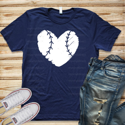 Baseball Heart HEAT PRESS TRANSFER