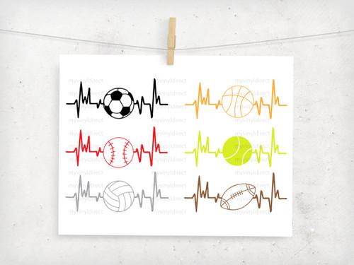 Sports Heartbeat Pack (set of 6) Digital Cutting File