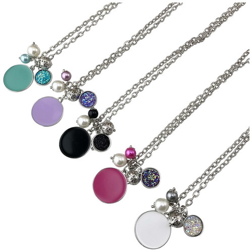 Druzy Enamel Disc Necklace