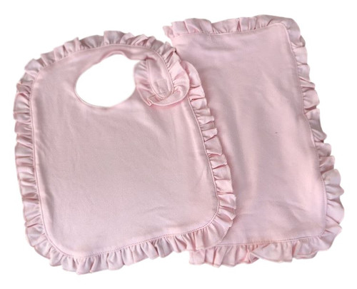 Ruffle Bib & Burp Cloth Set: Pink