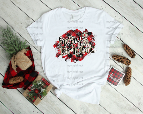 Merry & Bright Red Plaid | Sublimation Transfer