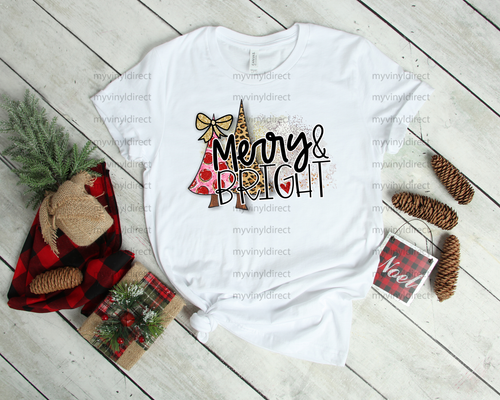 Merry & Bright Leopard Christmas Tree | Sublimation Transfer