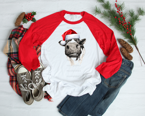 Cow with Santa Hat | Sublimation Transfer