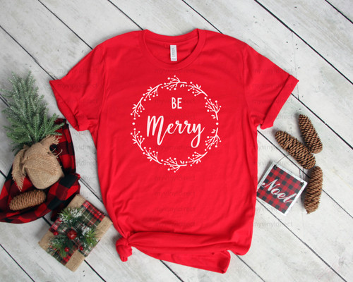 Be Merry Wreath   Screen Print Transfer