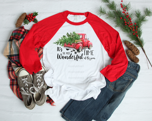 It's The Most Wonderful Time Of The Year Red Truck   Sublimation Transfer