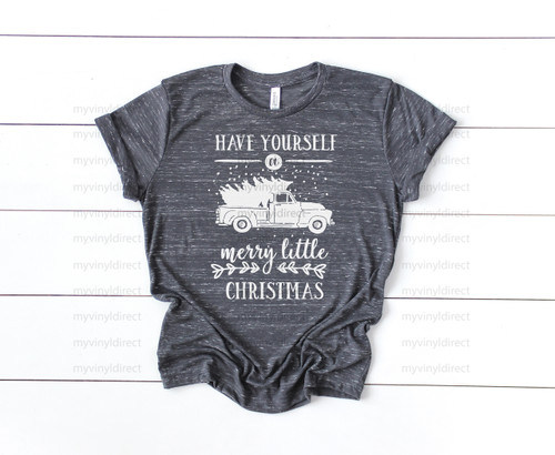 Have Yourself A Merry Little Christmas Snow Truck   Screen Print Transfer