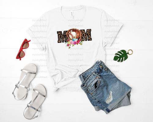 Baseball Mom Leopard & Floral   Sublimation Transfer