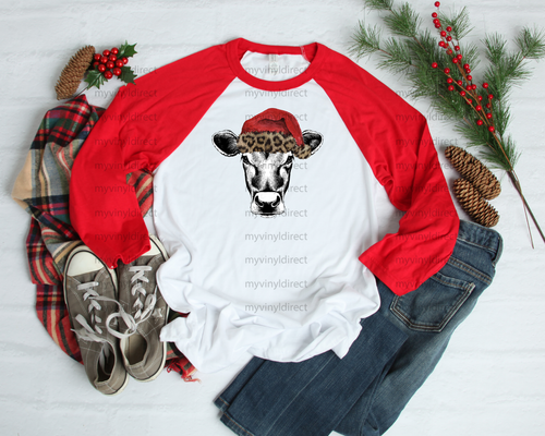 Heifer Cow in Red/Leopard Santa Hat | Sublimation Transfer
