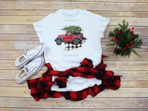 Red Jeep with Tree Plaid | Sublimation Transfer