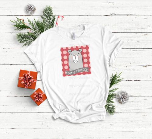 Happy Holidays Bear   Sublimation Transfer