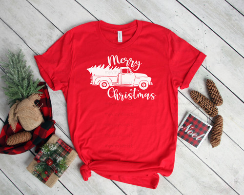 Hand Lettered Merry Christmas Truck | Screen Print Transfer