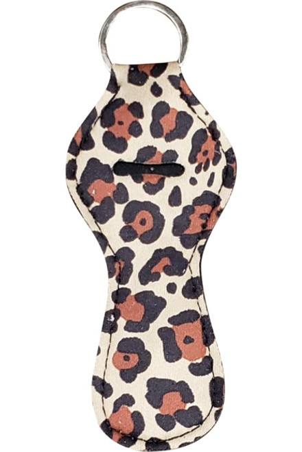 Neoprene Lip Gloss Key Fob: Leopard