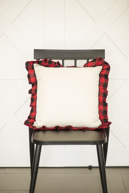 Buffalo Check Ruffle Trim Pillow Cover: RED/BLACK