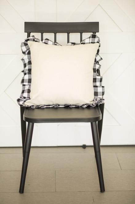 Buffalo Check Ruffle Trim Pillow Cover: WHITE/BLACK