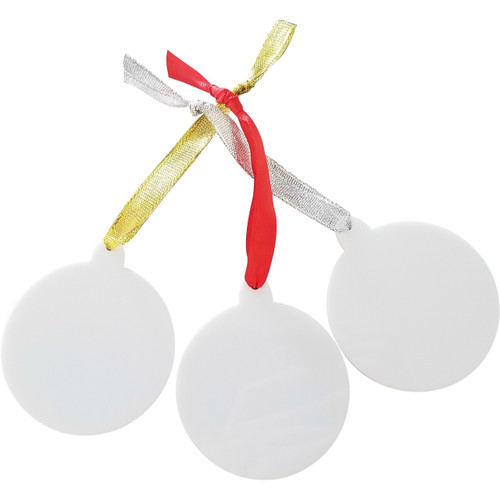 White Acrylic Christmas Ornament with Ribbon