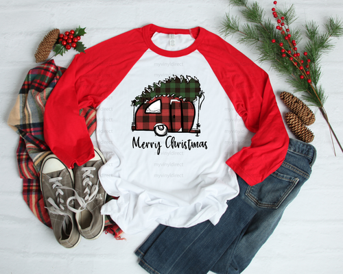 Merry Christmas Plaid Camper | Cotton Transfer