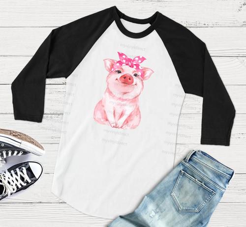 Miss Pig Polka Dot Pink Bandana | Cotton Transfer