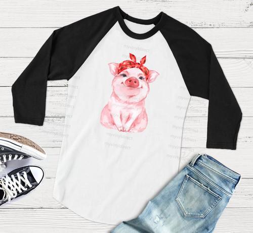 Miss Pig Red Bandana | Cotton Transfer