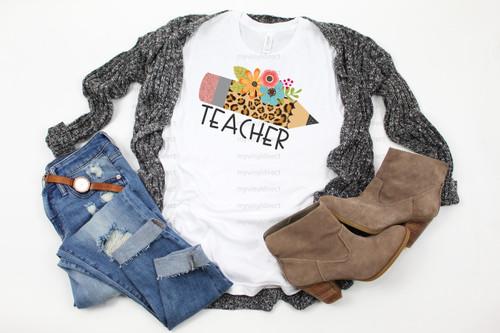 Teacher Leopard Pencil | Cotton Transfer